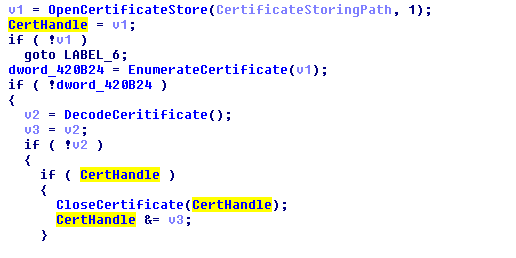 Fig 4. Code to enumerate certificate